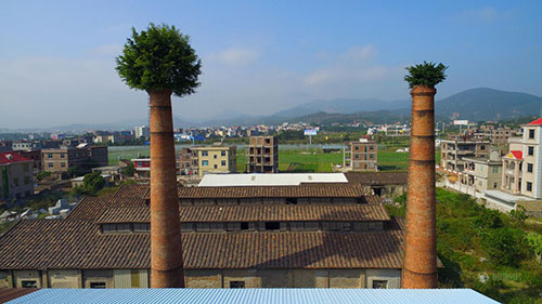 福建工厂烟囱长出大树如同戴绿帽